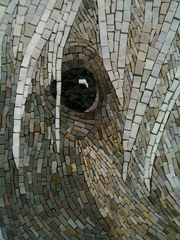 Mosaic Arabian horse stallion mural installation commission