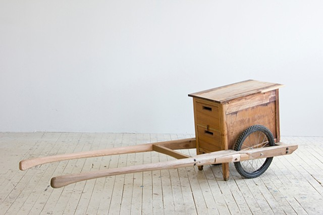Desk drawers, wood and wheels, 2012