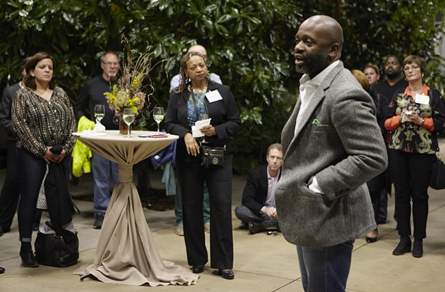 Theaster Speaks About the 95th Street Station Renovation at The Garfield Park Conservatory.  photo: Sara Pooley