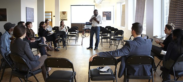 Community Meeting led by Theaster at The Washington Park Arts Incubator photo: Sara Pooley