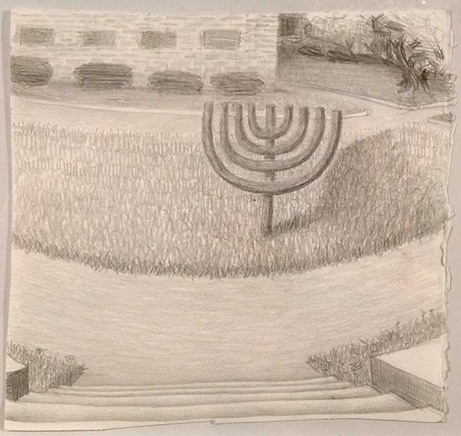 small menorah on the lawn drawing