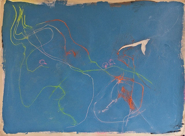 Bird Line Pencil Painting Neon Pink Blue Yellow