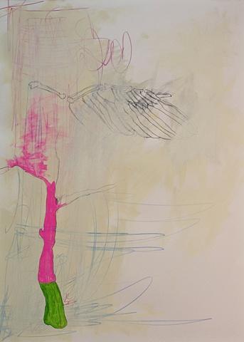 Bird Wing Apple Tree Line Painting
