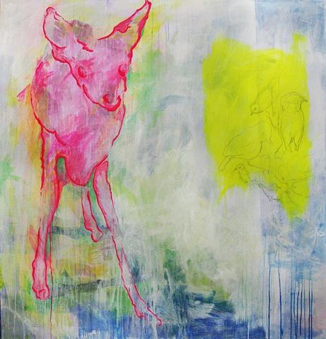 Deer Pink Bird Yellow Stolen
