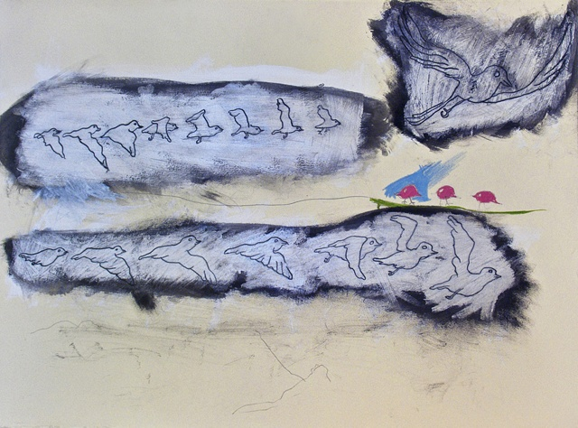 Bird Line Pencil Painting Flight