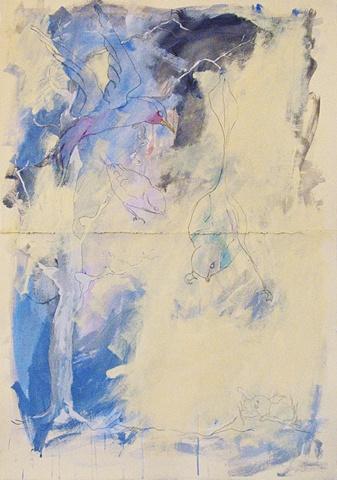 Bird Line Pencil Painting Blue Tree