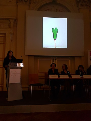 "Présentation de la série ""Crotches"" lors de la conférence ""Femmes au sommet ; une question de culture ? Visions internationales croisées"", Printemps des études, Palais Brongniart, Paris"