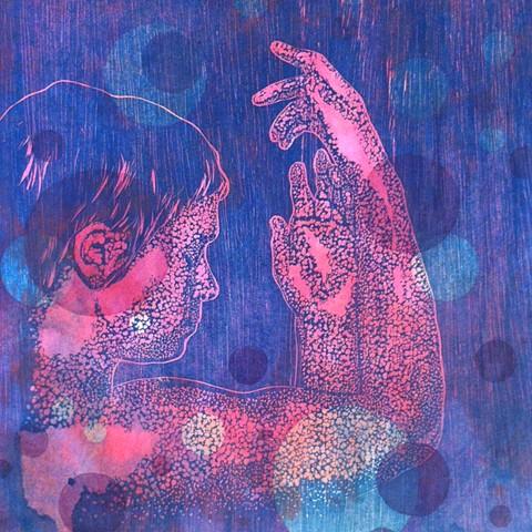 woodcut, screenprint, acrylic wash
