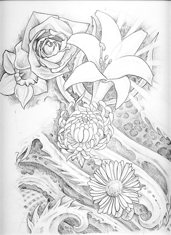 Sketch for Jen's half-sleeve