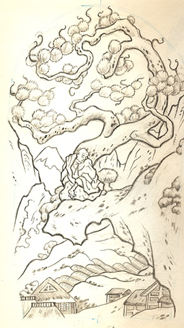Sketch for Anthony's Japanese landscape
