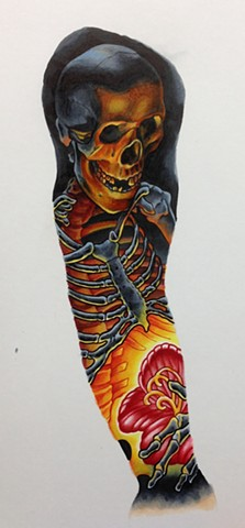 Skeleton/Flower sleeve done with Copic markers