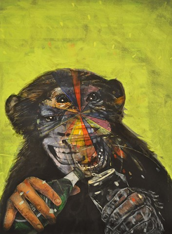 Drunk monkey painting by Leiv Fagereng