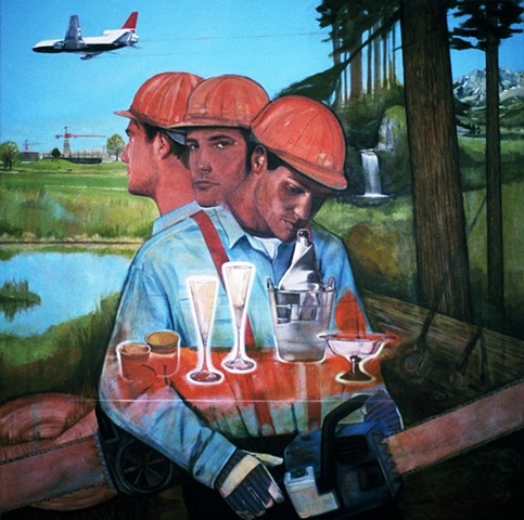 Loggers clearing cutting near suburban development painting by Leiv Fagereng