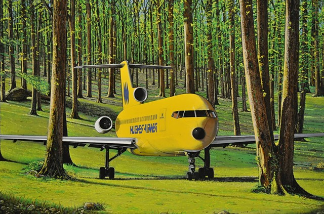 Hughes Airwest. Planes in the forest. Mysterious planes en repose.