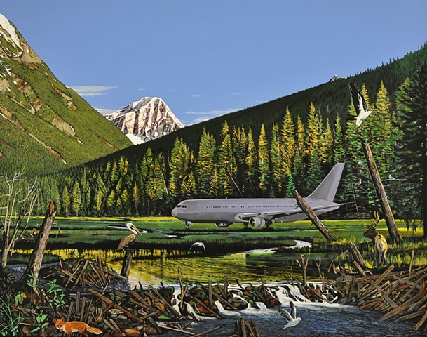 Jetliner in forest settling by Portland painter Leiv Fagereng