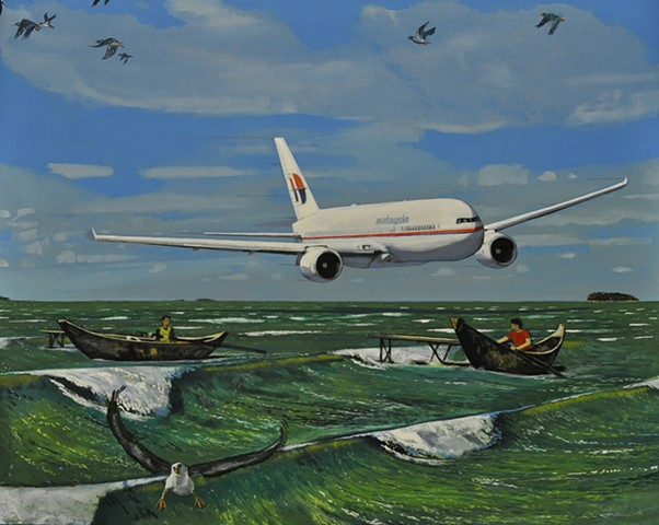 Malaysian airlines jet painting by Leiv Fagereng
