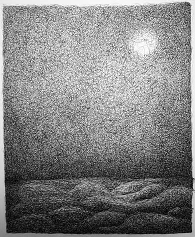 Rolling moonlit sea