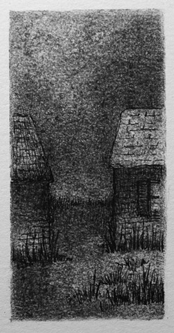 Two small out buildings, houses, drawing