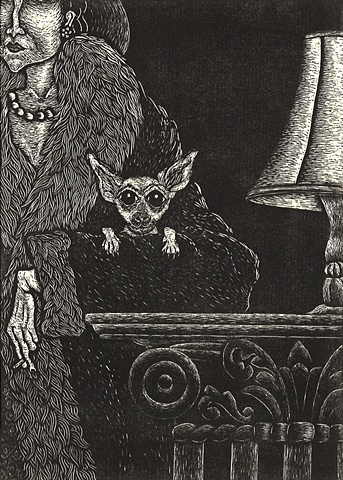 image of a lady in fur coat with her pet chihuahua at an evening social occasion created using wood engraving printing method