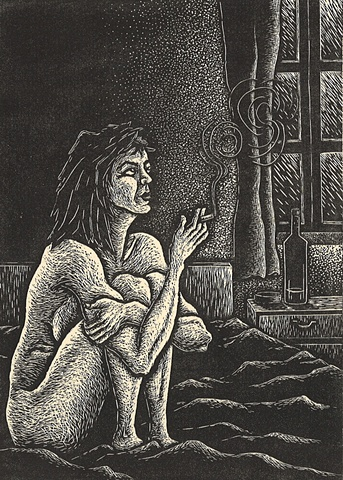 image of a woman smoking away her dreams created using wood engraving printing method