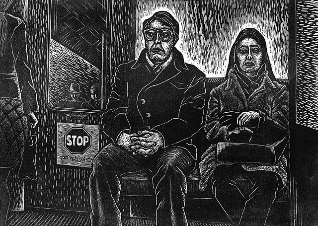 image of a couple going through midlife crisis in a subway train