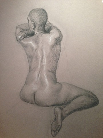 Charcoal drawing on Tientes paper