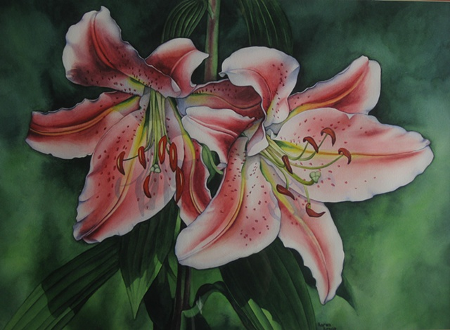 Lillies Pink-Framed