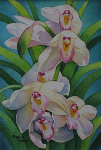 Orchids White with Colors-Framed