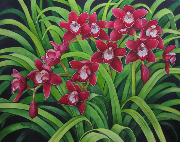 Orchids Red Many-Unframed