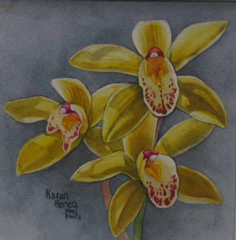 Orchids Yellow on Grey-Unframed