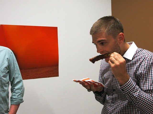 Dirty Opening documentation of BBQ rib consumption by gallery patrons