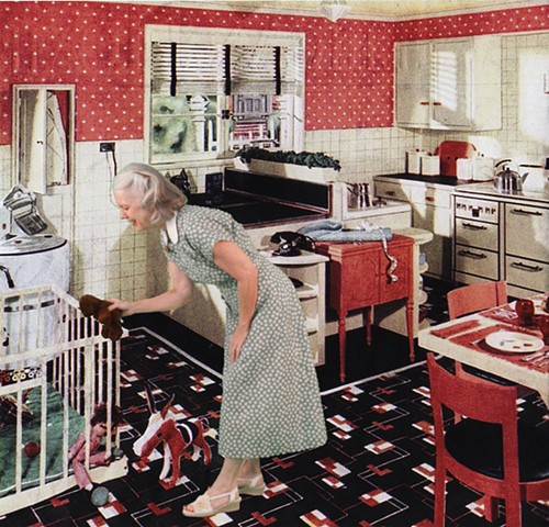 1938 Kitchen with Playpen (Toys for Babies)