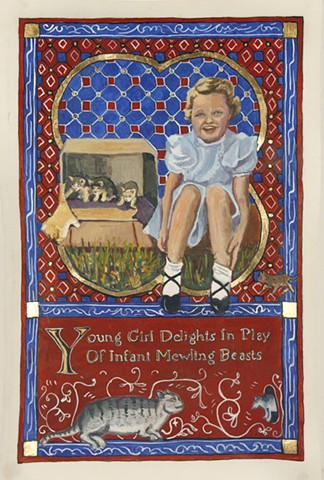 Young Girl Delights In Play of Infant Mewling Beasts