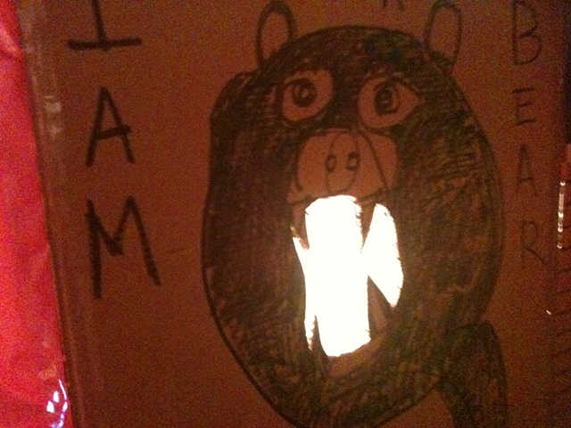 I am a bear box drawing/light w/ wrapping paper