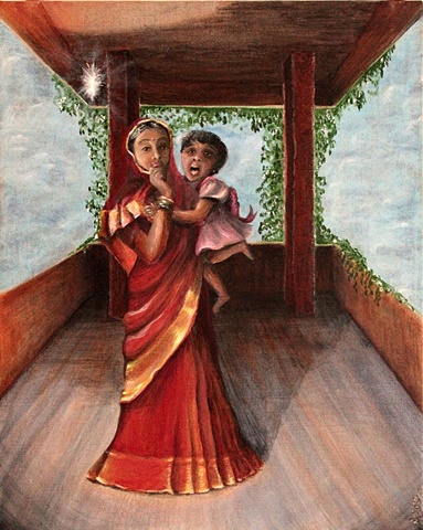 Conceptual Acrylic Painting on Canvas of mother and child