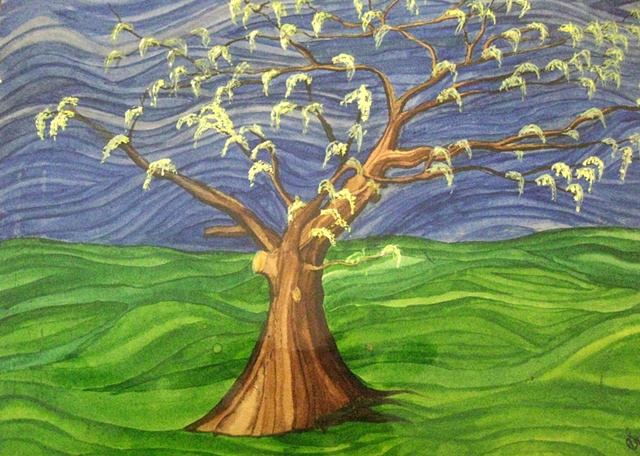 Conceptual water color painting on paper of tree