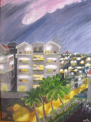 Conceptual Oil Painting on Canvas street of Bangalore
