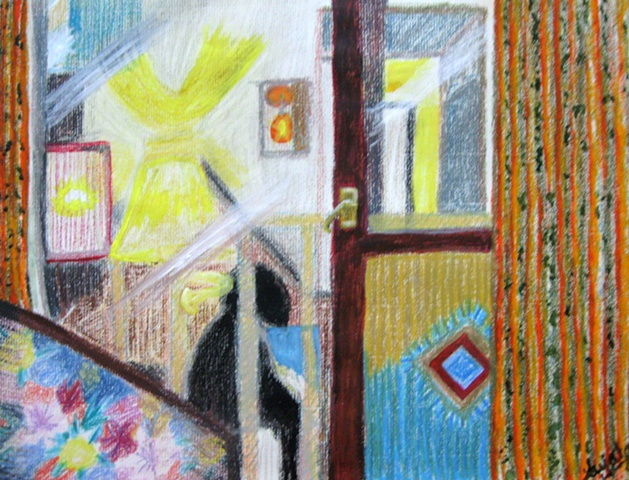 Conceptual pastell drawing on paper