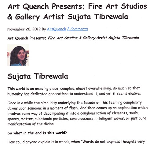 Art Quench Presents; Fire Art Studios & Gallery Artist Sujata Tibrewala