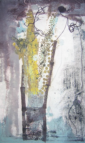 Monoprint, one of a kind original art,  printmaking on metal plate with master printer Marina Ancora