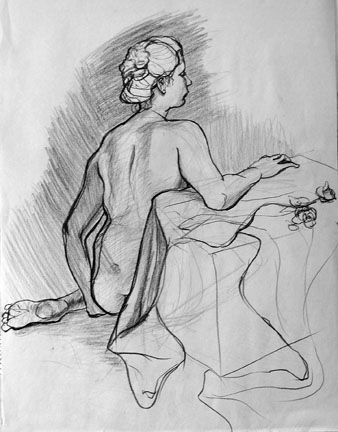Seated Nude and Rose