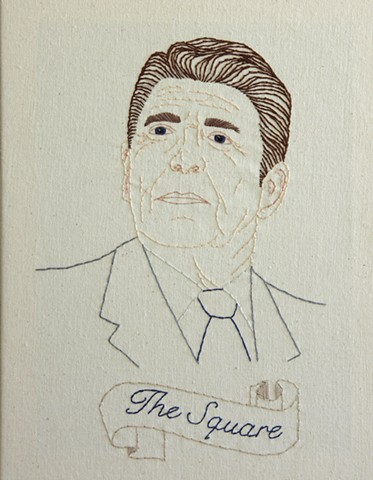 embroidery fiber art US Presidents american history Ronald Reagan