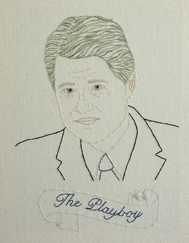 William J. Clinton embroidery fiber art US Presidents american history