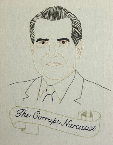 Richard M. Nixon embroidery fiber art US Presidents american history