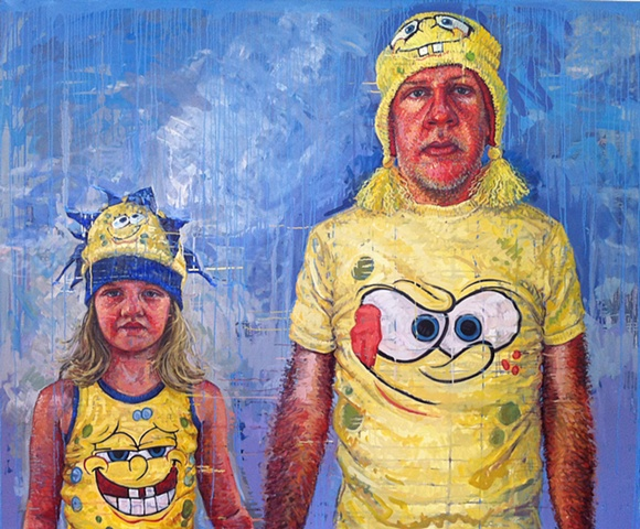 father and daughter, portrait, painting,  sponge bob, figure, figurative