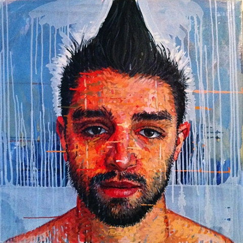 mohawk, portrait, face, head, painting, Matthew Ivan Cherry, art, artist
