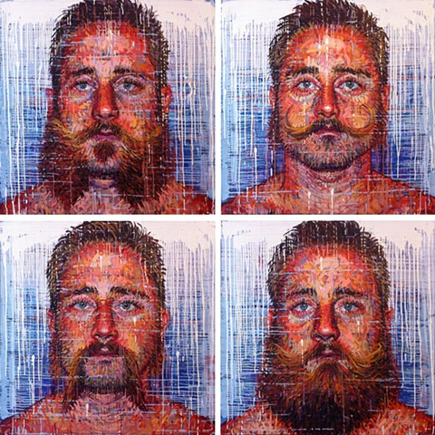 Portrait of a man with four different beard styles
