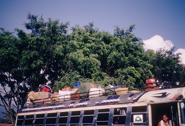 A bus with cargo, Antigua, 2010 (Kodachrome)