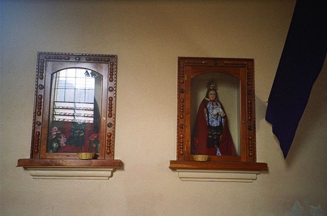 Mother Mary and other saints have had woven indigenous bags made for them, Colotenango, 2010