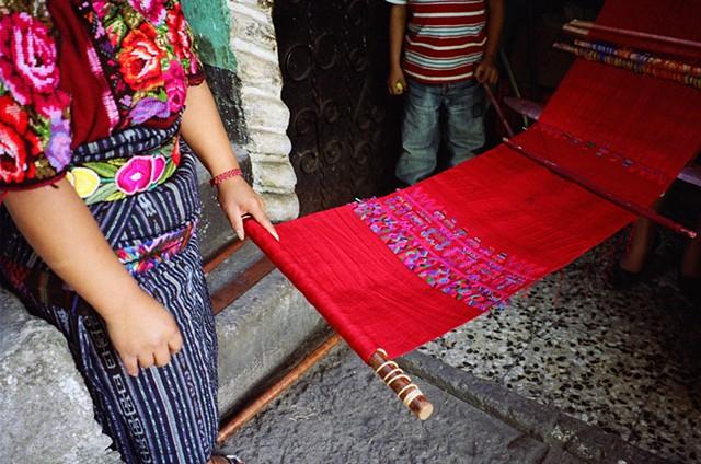 Detail of weaving in progress, Chichicastenango, 2010